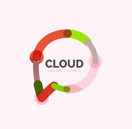 talk bubble: Flat linear design speech cloud logo. Talk bubble, modern geometric industrial thin line icon. Vector Illustration