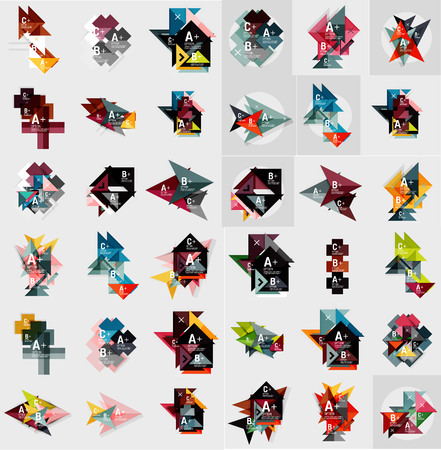 square button: Mega set of abstract geometric web option box banners. Triangles, squares, rectangles and other shapes - buttons with text. Vector illustration Illustration