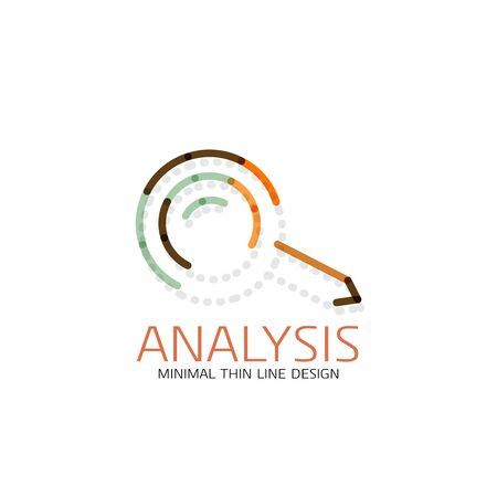 Vector thin line design logo magnifying glass, search and find or zoom logotype concept. Linear minimalistic business icon made of multicolored segments