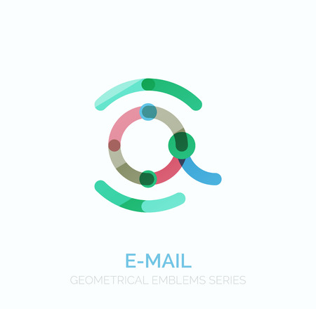 e mailing: Vector email business symbol, or at sign logo. Linear minimalistic flat icon design, multicolored segments of lines Illustration