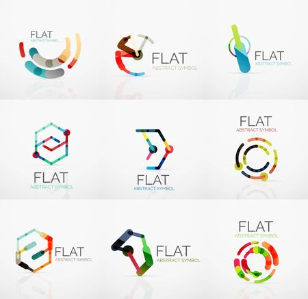 hitech: Logo collection - abstract minimalistic linear flat design. Business hi-tech geometric symbols, multicolored connected segments of lines. Vector illustration - connection concepts