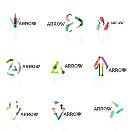 hi back: Set of linear arrow abstract logos, connected multicolored segments of lines in directional pointer figures. Vector wire business icon collection isolated on white Illustration