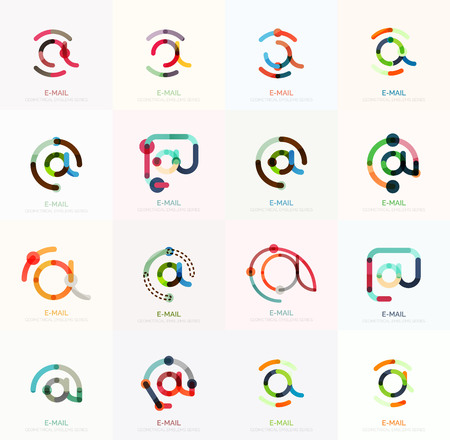e mailing: Vector email business symbols or at signs logo set. Linear minimalistic flat icons - collection connected multicolored segments of lines Illustration