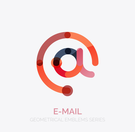 business symbol: Vector email business symbol, or at sign logo. Linear minimalistic flat icon design, multicolored segments of lines Illustration