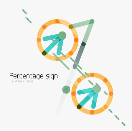 percentage sign: Percentage sign background. Linear outline style made of overlapping multicolored line elements Illustration