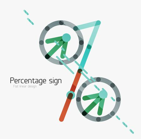 stock price losses: Percentage sign. Linear outline style made of overlapping multicolored line elements