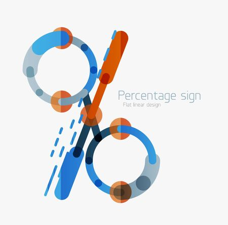 vactor: Flat icon of percentage sign. Linear outline style made of overlapping multicolored line elements Illustration