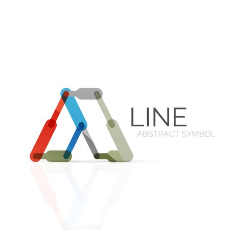 segments: Linear abstract symbol, connected multicolored segments of lines geometrical figure. Illustration