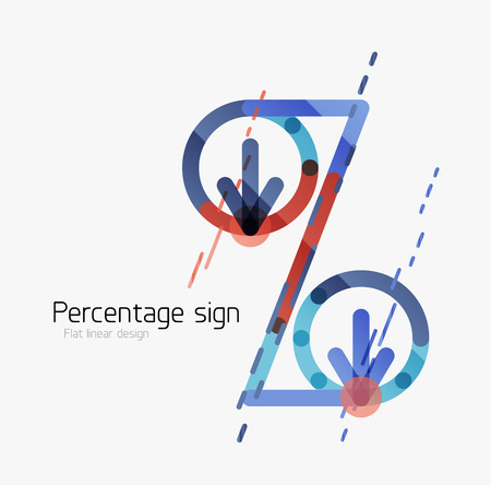 stock price losses: Percentage sign. Linear outline style made of overlapping multicolored line elements.