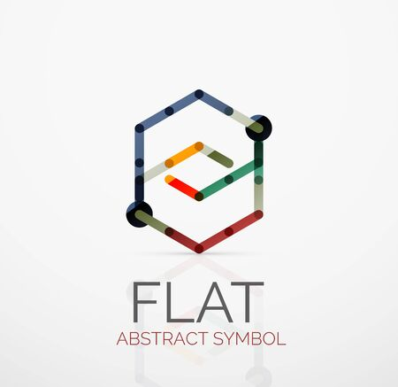 hitech: Abstract linear flat design. Business hi-tech geometric symbol, multicolored connected segments of lines.