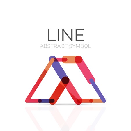 segments: Linear abstract, connected multicolored segments of lines geometrical figure. Illustration