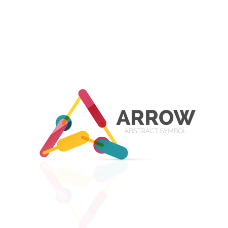 hi back: Linear arrow abstract design, connected multicolored segments of lines in directional pointer figure.