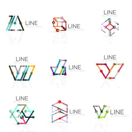figuras abstractas: Conjunto de diseños abstractos lineales, conectado segmentos de líneas multicolores en las figuras geométricas. Vectores