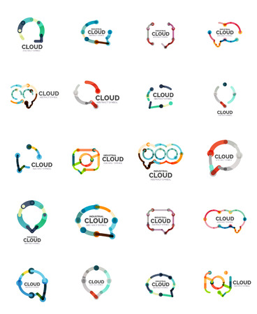 speech icon: Flat linear design speech cloud. Talk bubble, modern geometric industrial thin line icon.