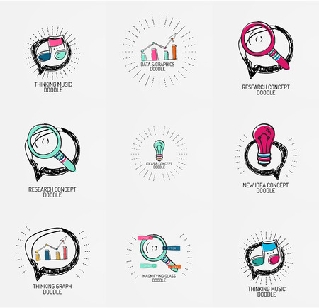 web element: Set of hand drawn design elements in circles - magnifier, music note light bulb, speech bubble and other Illustration