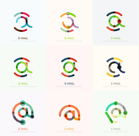 e mailing: Email business symbols set. Linear flat icons - collection connected multicolored segments of lines.
