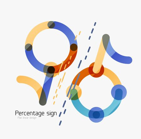 vactor: Percentage sign background. Linear outline style made of overlapping multicolored line elements Illustration