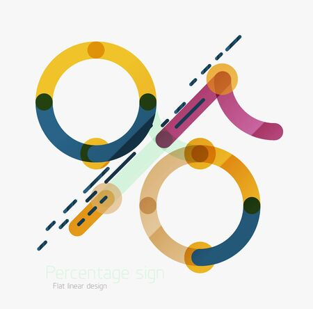 Flat icon of percentage sign. Linear outline style made of overlapping multicolored line elements Illustration