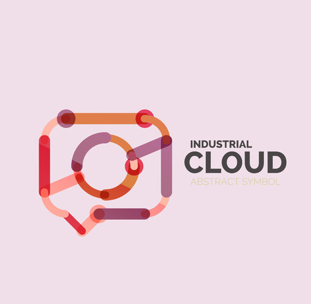 speech cloud: Flat linear design speech cloud  . Talk bubble, modern geometric industrial thin line icon. Vector