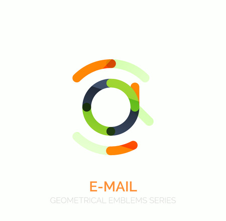 e mailing: Vector email business symbol, or at sign  . Linear minimalistic flat icon design, multicolored segments of lines