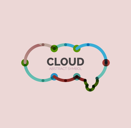 business outline: Flat linear design speech cloud  . Talk bubble, modern geometric industrial thin line icon. Vector