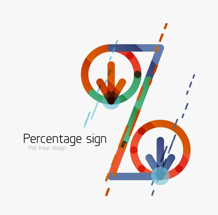 Percentage sign background. Linear outline style made of overlapping multicolored line elements Illustration