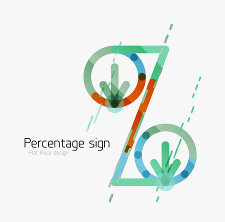 stock price losses: Percentage sign background. Linear outline style made of overlapping multicolored line elements Illustration