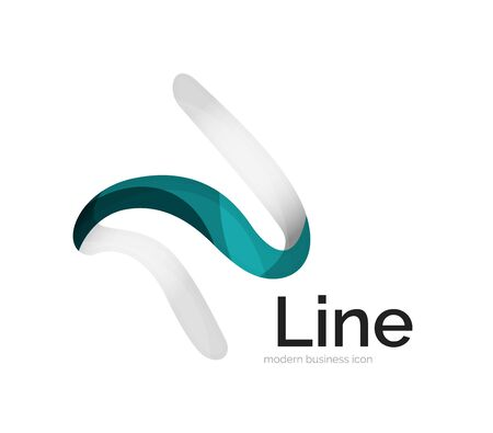 curve line: Modern vector ribbon logo, multicolored curve line with transparent elements. Business swirl icon Illustration