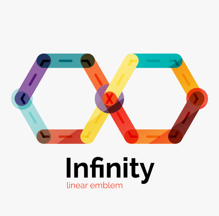 shape triangle: Vector infinity logo, flat geometric colorful design of lines