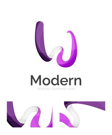 medical logo: Abstract 3d swirl ribbon logo template with business card corporate identity design. Vector illustration