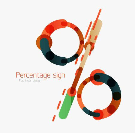 modern illustration: Percentage sign background. Linear outline style made of overlapping multicolored line elements Illustration