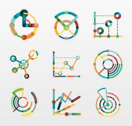data line: Thin line chart logo set. Graph icons modern colorful flat style. Vector symbols