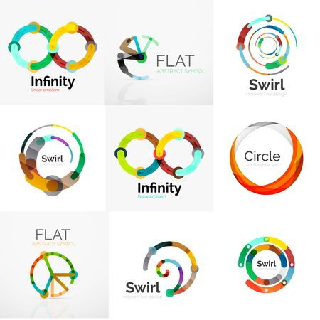 Collection of abstract circle logos. Minimal thin line flat design Illusztráció