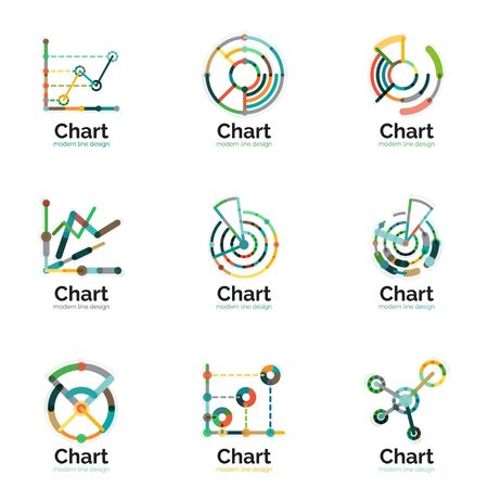 line graph: Thin line chart logo set. Graph icons modern colorful flat style. Vector symbols