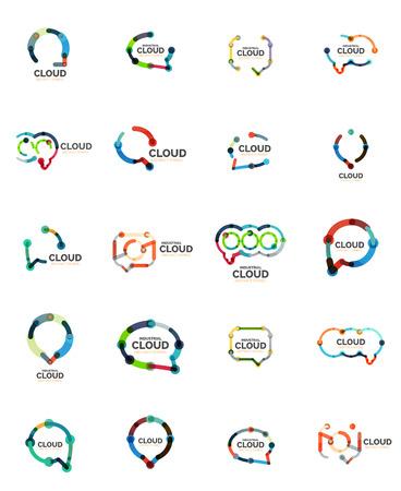 speech cloud: Set of flat linear design speech cloud logos.