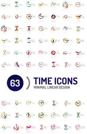 Set of vector abstract logo ideas, time concepts or clock business icon collection. Creative logotype design templates Illustration