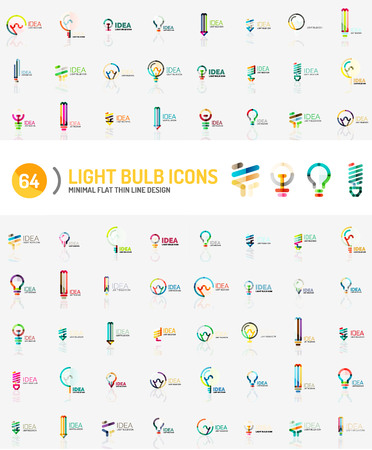 electricity company: Mega collection of light bulb logos Illustration