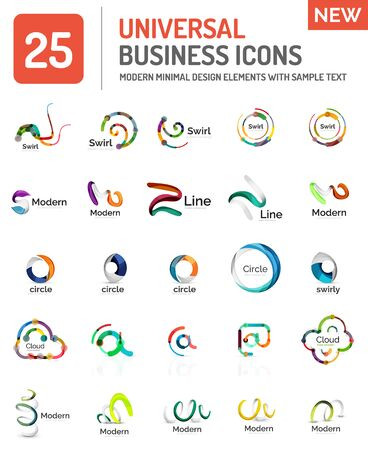 business globe: Abstract business icons, vector logo collection