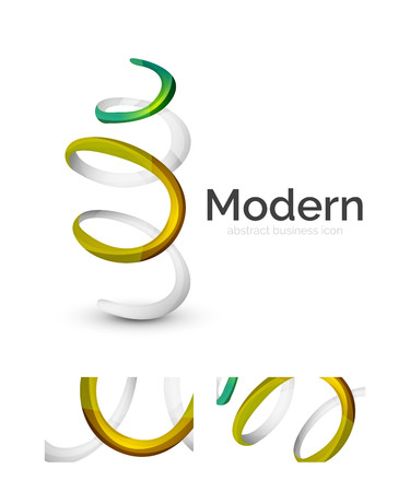 s curve: Abstract 3d swirl ribbon logo template with business card corporate identity design. Vector illustration