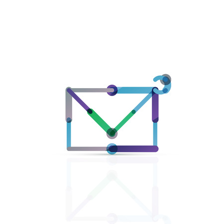 minimalistic: Vector email business symbol, or at sign . Linear minimalistic flat icon design, multicolored segments of lines