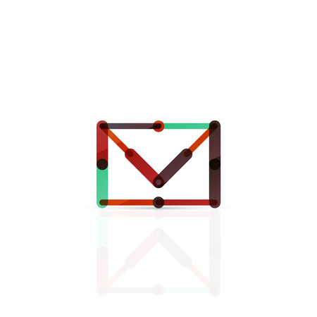 minimalistic: Vector email business symbol, or at sign. Linear minimalistic flat icon design, multicolored segments of lines Illustration