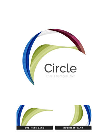 circle shape: Circle shape. Transparent overlapping swirl shapes. Modern clean business icon. Vector illustration.