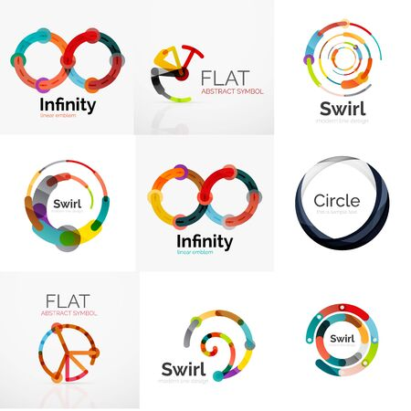 circle shape: Collection of abstract circle shape. Minimal thin line flat design