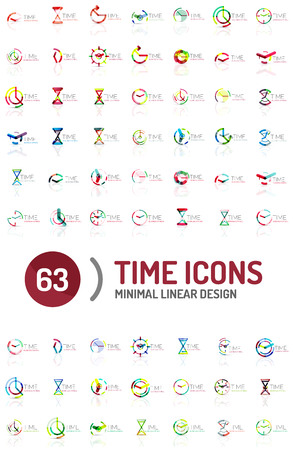 big timer: Set of vector abstract shape ideas, time concepts or clock business icon collection.
