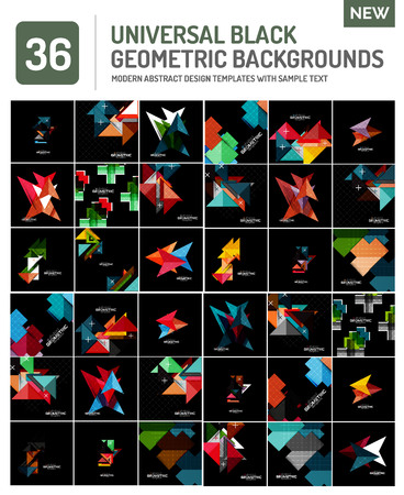 compositions: Mega collection of black geometric shape compositions. Abstract backgrounds Illustration