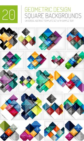 visualize: Mega collection of square geometric backgrounds and web boxes with option infographics sample text
