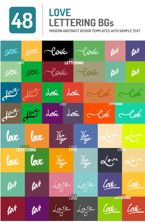 sayings: Set of vector love word lettering design Illustration