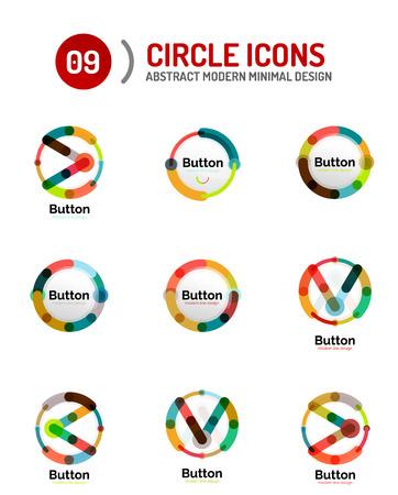abstract logos: Collection of abstract circle logos. Minimal thin line flat design Illustration