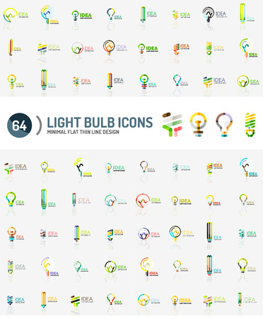 electric power: Mega collection of light bulb logos Illustration