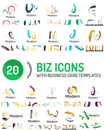 Large vector set of business line logos Illustration